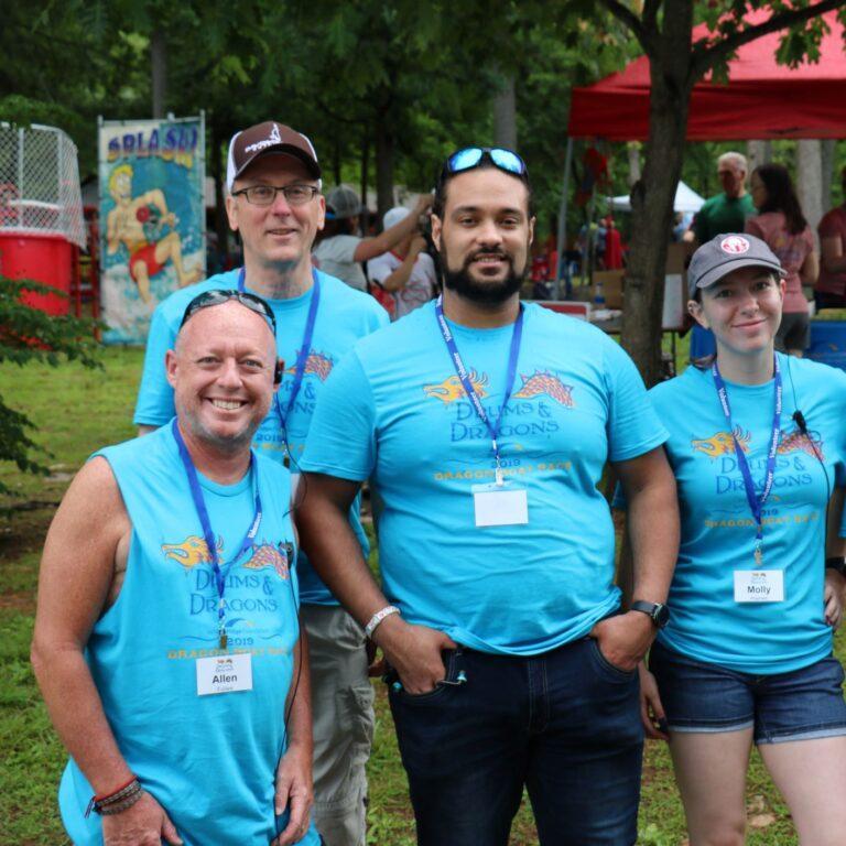 Drums & Dragons volunteers wearing matching shirts